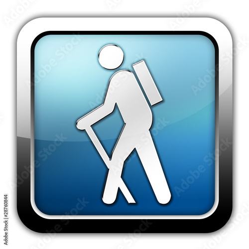 "Glossy Square Icon ""Hiking"""