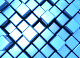 Mettalic cubes blue reflection