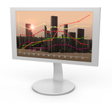White monitor. Linear graph in the background city morning. poster