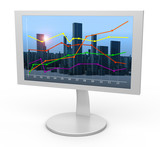 White monitor. Linear graph in the background city poster