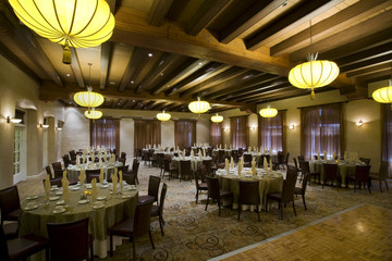 Banquet hall set up for a formal event