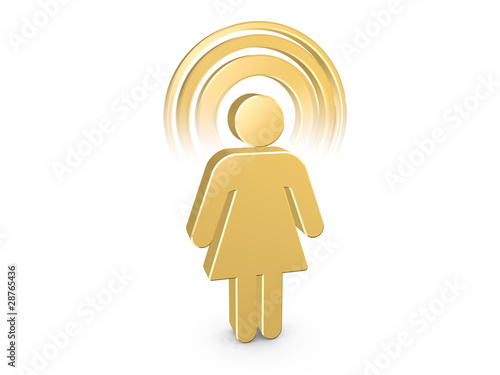 Gold Blue Spiritual Girl with visible color Aura