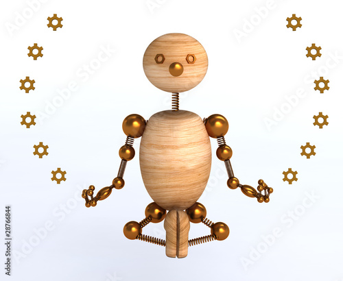 3d wood man meditation
