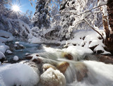 mountain river in winter time