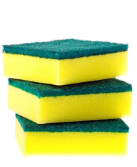Stack of colorful scrubber pads or scourers.
