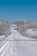 Winter scene on a country road in rural Iowa