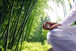 Man relaxing by bamboo forest