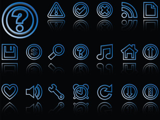 web icons reflected against black