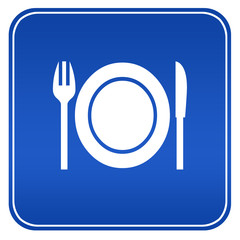 Restaurant blue sign