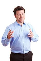 Geschäftsmann hält eine Rede