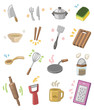 cartoon kitchen utensils