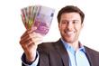 Geschäftsmann zeigt Geldfächer