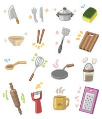cartoon kitchen utensils
