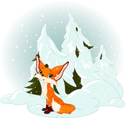 Cute fox against a snowy forest