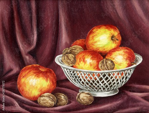Apples and nuts on a red background. Picture oil paints