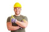 Bauarbeiter hält Daumen hoch