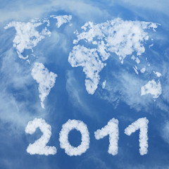 Happy new year 2011 made of clouds