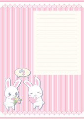 Kawaii Valentine greeting card - rabbits
