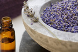 Fototapety Wellness care products with lavender seeds and oil