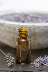 Wellness care products lavender oil in a bottle