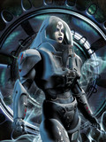 futuristic girl in spacesuit