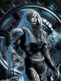 futuristic girl in spacesuit