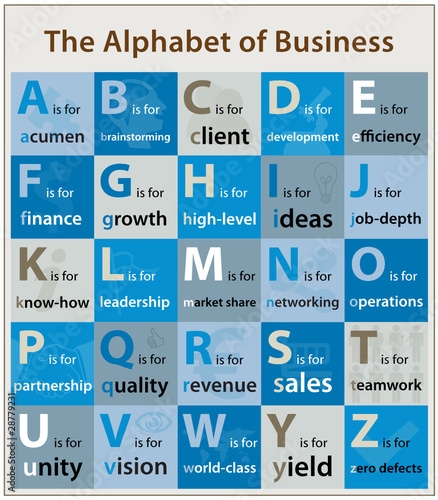 The Alphabet of Business (commerce theme topic illustration)