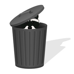 Raccoon in the dustbin. Vector illustration.