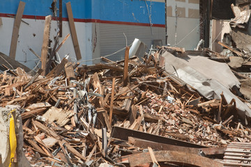 Pile of Wood and Metal Debris at Demolition Site