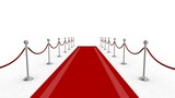 3d animation of a rolling red carpet with still camera poster