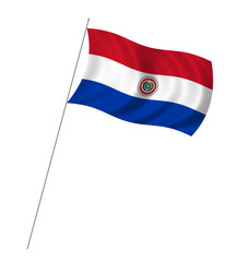 Flag of Paraguay with pole flag waving over white background