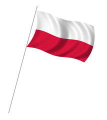 Flag of Poland with pole flag waving over white background