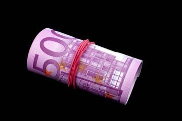 Rolle mit 500 Euro Scheinen