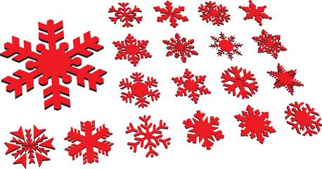 Set of modern vector snowflakes