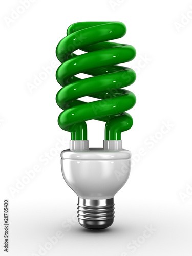 energy saving bulb on white background. Isolated 3D image