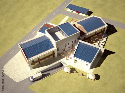 Edificio ecostostenibile a pannelli solari render 3d - Progetto casa ecologica ...