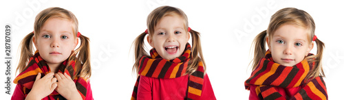 little girl in a striped scarf photos