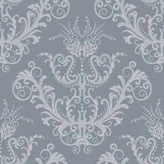 Luxury silver floral vintage wallpaper