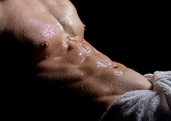 Wet bodybuilder