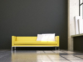 3d Sofa Rendering Leder gelb grau im Loft