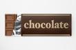 白背景に銀紙に包んだチョコレートのアップ