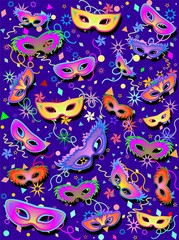 Maschere Multicolori Fondo-Multicolored Masks Background-2