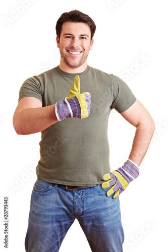 handwerker h lt daumen hoch von robert kneschke lizenzfreies foto 28793443 auf. Black Bedroom Furniture Sets. Home Design Ideas
