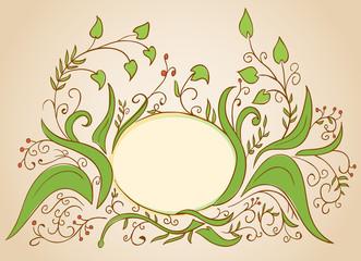 Vector floral frame designed for greeting card