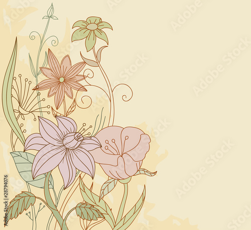 Retro color flowers on grunge background