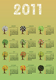vertical calendar 2011 year trees theme