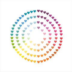 color wheel made of hearts