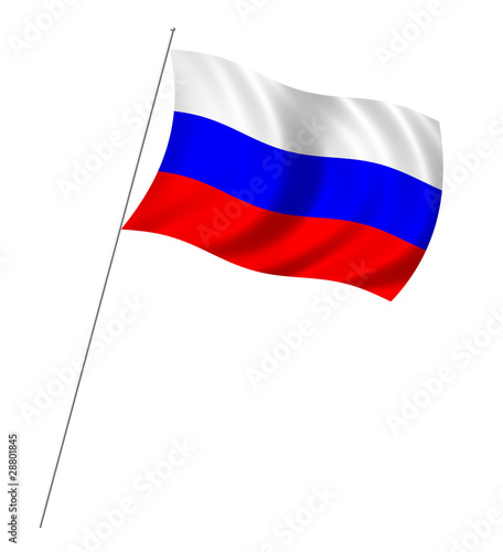 Flag of Russia with pole flag waving over white background