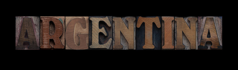 the word Argentina in old letterpress wood type