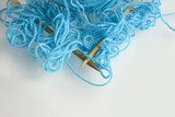 Tangled blue yarn